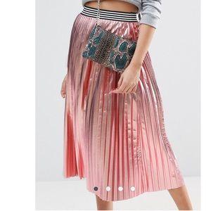 ASOS metallic pink pleated skirt